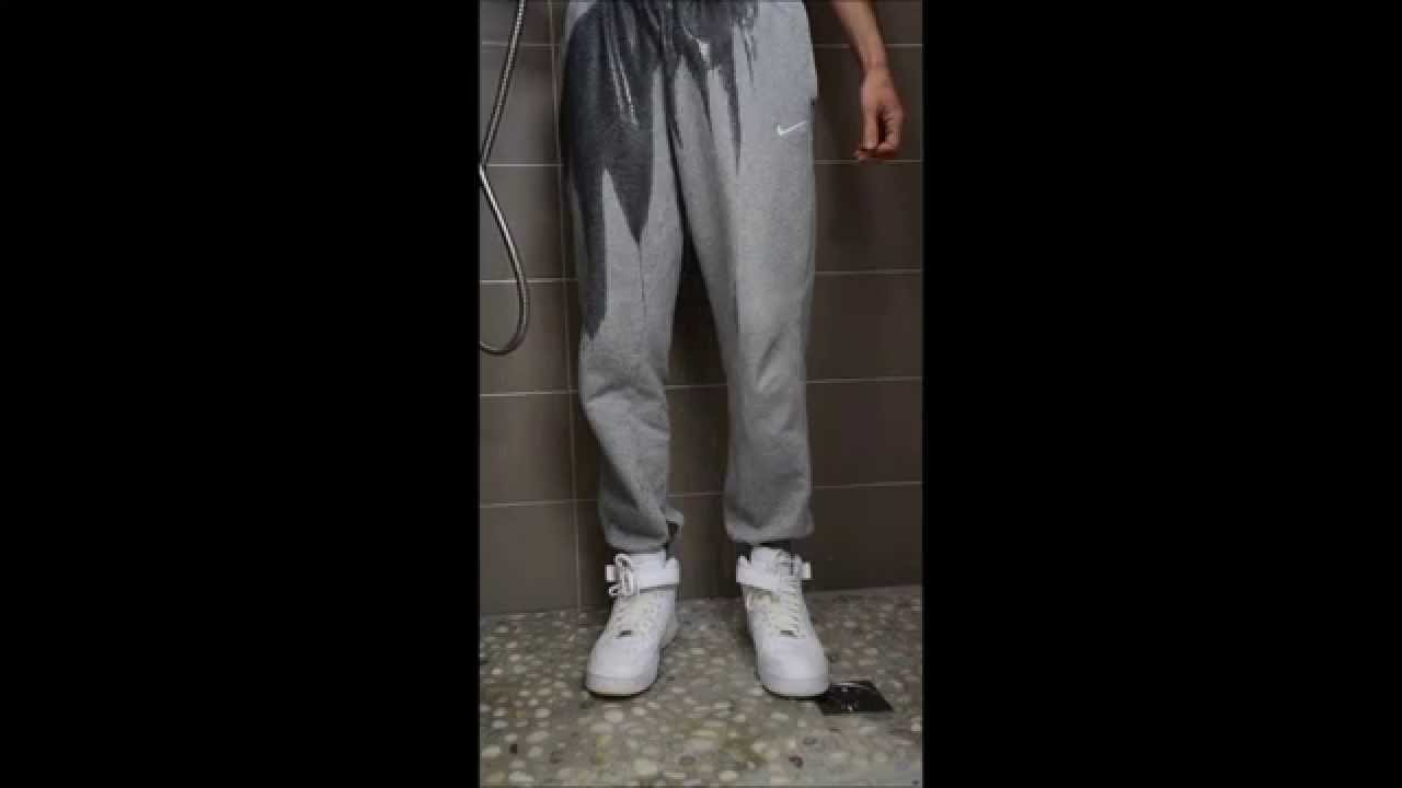 AF1 and Nike sweatpant in shower
