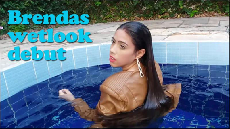 Brendas wetlook debut - jeans and leather in the pool