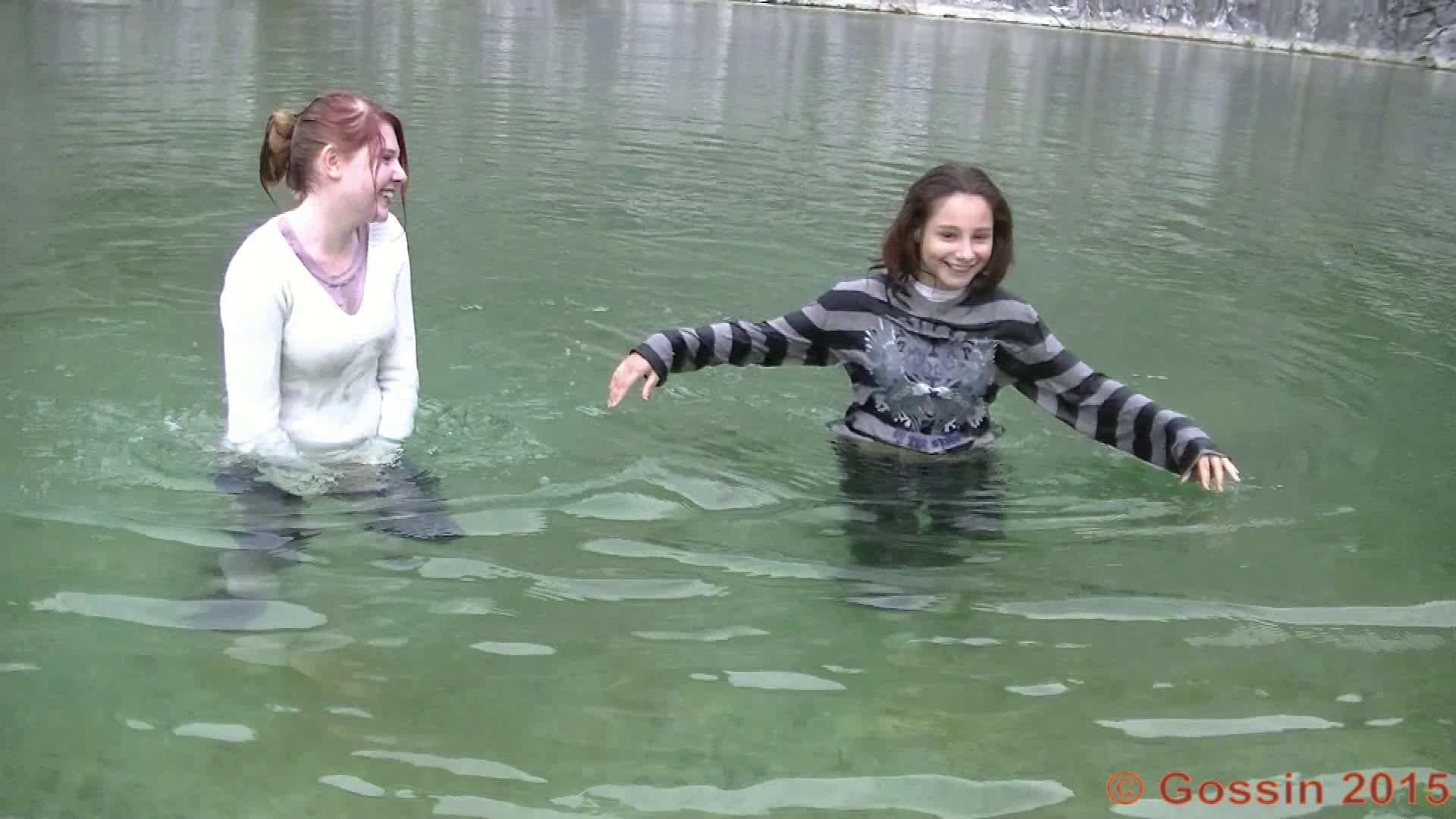 Eliska and Betka in the flooded quarry