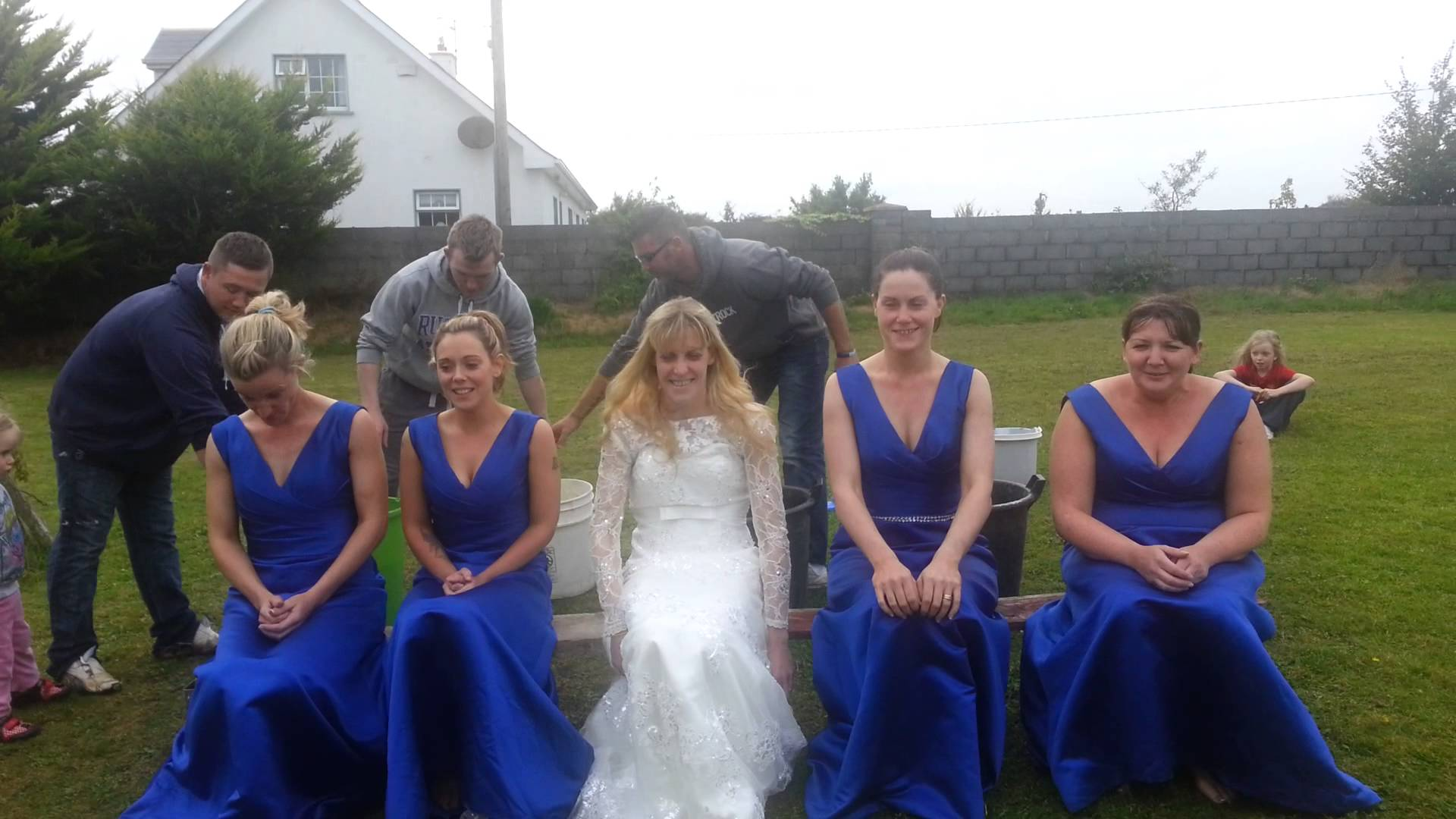 Bride and Bridesmaids ice bucket challenge